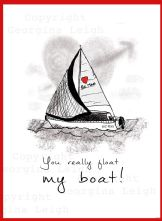 Sailing Yacht Valentines Card
